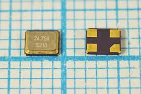 кварцевый резонатор 24.75МГц в корпусе SMD 3.2x2.5мм, нагрузка 18пФ, 24750 \SMD03225C4\18\ 30\ 30/-20~95C\SX-32\1Г