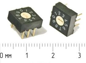 DIP переключатель на 10позициий, шаг 2.54мм; № 2596 ПDIP-10\ 6P2,54\0-9 10поз\\RH-3\
