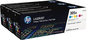 Тройная упаковка картриджей HP №305A CF370AM, голубой / желтый / пурпурный