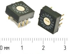 DIP переключатель на 16позициий, шаг 2.54мм; № 2596 ПDIP-16\ 6P2,54\0-9/A-F 16поз\\RH-3