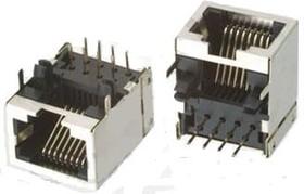 TJ8P8C (DS1126), Розетка 8P8C (RJ45) на плату угловая полностью экранированная