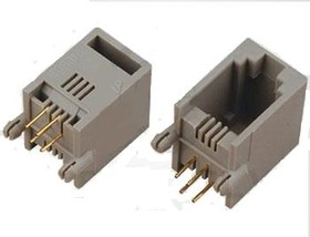 DS1132-S40APX (TJ1A-4P4C*), Розетка 4P4C прямой угол на плату, без упоров под панель