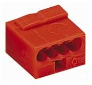 243-804, Клемма микро, 4 контактная, 0,6-0,8 мм, красная
