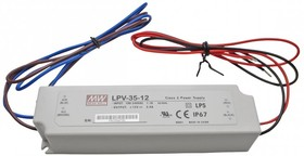 LPV-35-12, AC/DC LED, 12В,3А,36Вт,IP67 блок питания для светодиодного освещения