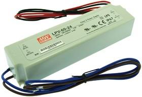 Фото 1/3 LPV-60-24, AC/DC LED, 24В,2.5А,60Вт,IP67 блок питания для светодиодного освещения