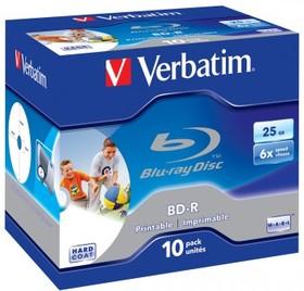 Оптический диск BD-R VERBATIM 25Гб 6x, 10шт., jewel case, scratch proof, printable [43713]