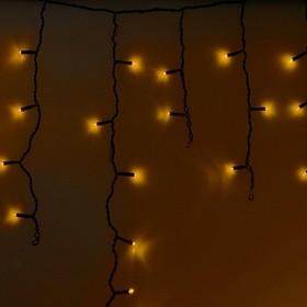 255-041, Гирлянда Айсикл (бахрома) светодиодный, 2,4 х 0,6 м, черный провод, 230 В, диоды жёлтые, 88 LED NEON