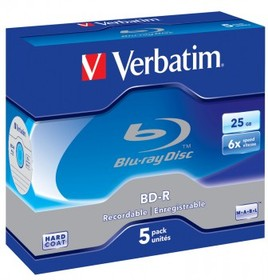 Оптический диск BD-R VERBATIM 25Гб 6x, 5шт., jewel case, scratch proof [43715]
