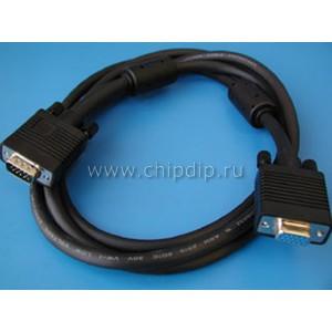Кабель для монитора VGA 15pin (м) - 15pin (п) c ферритовым кольцом, 1,8м.