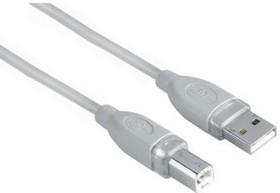 Фото 1/2 Кабель USB2.0 HAMA H-45021 (серый), USB A (m) - USB B (m), круглое, 1.8м [00045021]