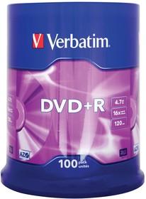 Оптический диск DVD-R VERBATIM 4.7Гб 16x, 100шт., 43547, slim case
