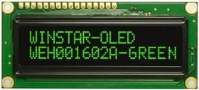 WEH001602AGPP5N00001, Индикатор 1602 зеленый 80х36 мм