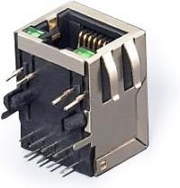 Фото 1/2 SK02-111015NL, Розетка 8P8C (RJ45) со светодиодами и трансформатором