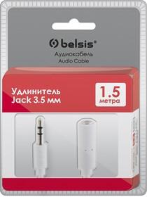BGL1106, Шнур Jack 3,5 (3 pin) вилка - Jack 3,5 (3 pin) розетка, белый, 1,5 м