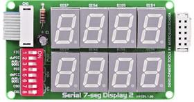 Фото 1/4 MIKROE-202, Serial 7-seg Display 2 Board, Дочерняя плата с двумя 4-символьными 7-сегментными LED индикаторами