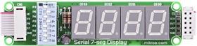Фото 1/4 MIKROE-201, Serial 7-seg Display Board, Дочерняя плата с 4-мя 7-сегментными LED индикаторами
