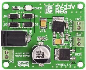Фото 1/4 MIKROE-192, 5V-3.3VReg Board, Плата стабилизатора напряжения Uвх:8-16AC/DC Uвых1=5В Uвых2=3.3В