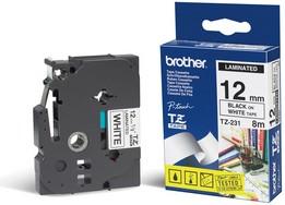 Лента BROTHER TZE231 12мм, черный шрифт, белый фон, 8м