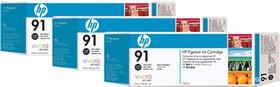 Тройная упаковка картриджей HP №91 фото черный [c9481a]
