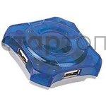 2002358, Концентратор USB 2.0 Gembird UHB-C224, 4 порта, синий прозрачный корпус (2002358)