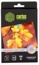 Фотобумага Cactus Prof CS-HGA626020 10x15/260г/м2/20л./белый глянцевое для струйной печати