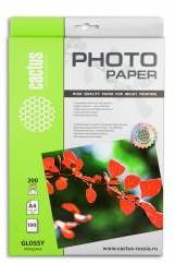 Фотобумага Cactus CS-GA4200100 A4/200г/м2/100л./белый глянцевое для струйной печати