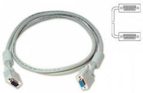 Кабель VGA BURO CAB016S-10, VGA HD15 (m) - VGA HD15 (m), ферритовый фильтр , 3м, серый
