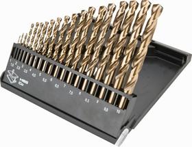 57H199, Сверла по металлу HSS-TiN 1.0-10.0 мм, 19шт.
