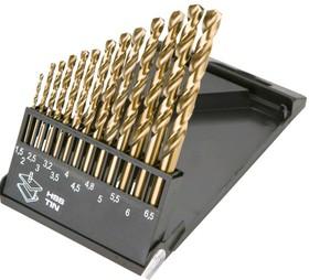 57H198, Сверла по металлу HSS-TiN 1.5-6.5 мм, 13шт.