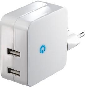 USB2100/TWIN, Блок питания с двумя USB разъёмами, 5В,2.1А,21Вт (адаптер)