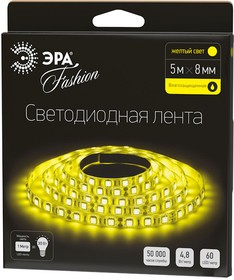 Фото 1/2 LS3528-60LED-IP65-Y, Лента светодиодная (цвет желтый), 4.8Вт/м, цена за катушку 5м