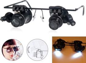 PL4403 (EL-92x2), Лупа налобная 20x бинокулярная (очки) с подсветкой (2 LED)