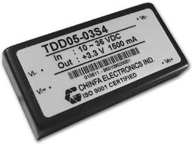 TDD05-05S4, DC/DC преобразователь, 5Вт, вход 10-36В, выход 5В/1A