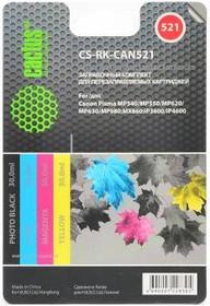 Заправочный комплект CACTUS CS-RK-CAN521, для Canon, 120мл, многоцветный