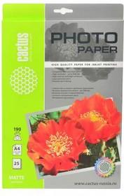 Фотобумага CACTUS CS-MA419025, для струйной печати, A4, 190г/м2, 25 листов