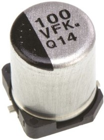 Фото 1/2 ЧИП электролит.конд. 100мкф 35В 105С 6.3x7.7(D8),EEEFK1V101XP