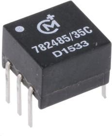 Фото 1/3 782485/35C, Transformer 1CT:2.2CT 2500Vrms 9.14 X 9.77mm 6.35 X PC Pin Through Hole
