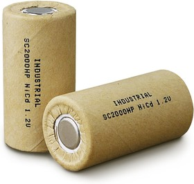 INDUSTRIAL D-SC2000P, Аккумулятор промышленный NiCd, 2000mAh 1.2В, 23,0*43,0mm(1шт.)