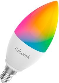 Фото 1/2 RUBETEK RL-3104, Лампа светодиодная RGB c Wi-Fi, 5Вт,220В,Е14, Умный дом