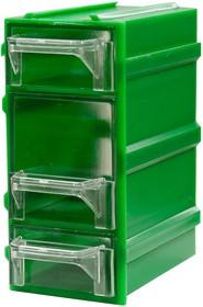 К7, контейнер пласт., прозр., зеленый корпус, 3 лотка, 49х82х100мм