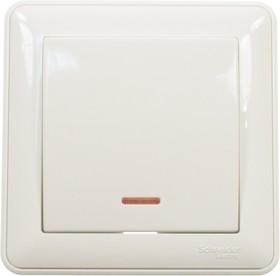 """BC116-151-18, Выключатель """"WESSEN-59"""" кнопочный с индик. СП (белый) с самовозвратом"""