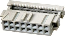 1-215919-6, AMP-Latch-16 розетка на шлейф 2,54мм с крышк.б/ф