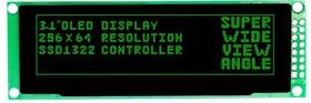MDOB256064BX-GM, Графический OLED дисплей, 256 x 64 Pixels, Зеленый на Черном, 3.3В, Параллельный, SPI