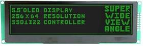 MDOB256064CX-GM, Графический OLED дисплей, 256 x 64 Pixels, Зеленый на Черном, 3.3В, Параллельный, SPI