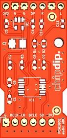 Печатная плата PCM1808 audio ADC, Печатная плата с разводкой, FR4 18.7х37.8мм (1.5мм, 18мкм)