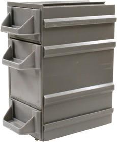 К7, контейнер пласт., непрозр., 3 лотка, серый, 49х82х100мм