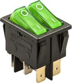 797, Переключатель, 6 конт., 250В/15.0А, зеленый, с подсветкой (767)
