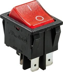 SC767B, Переключатель, 4 конт., 250В/15.0А, красный, с подсветкой