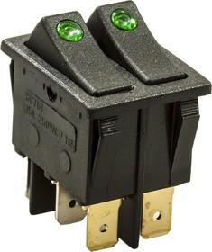 797D, Переключатель, 6 конт., 250В/15.0А, зеленый, с подсветкой, (767)