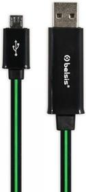 Фото 1/2 BS1041, Шнур USB A- Micro USB плоский c LED подсветкой, 0.8 м, черный